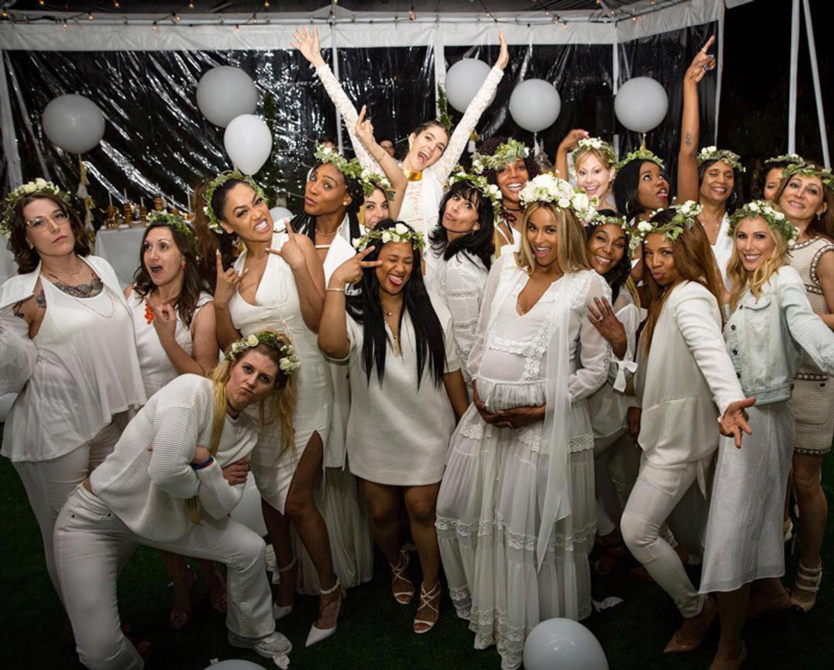 Ciara's all-white-themed baby shower