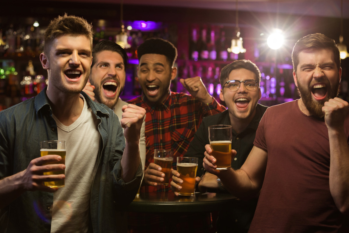 A group of friends have fun at a bachelors party