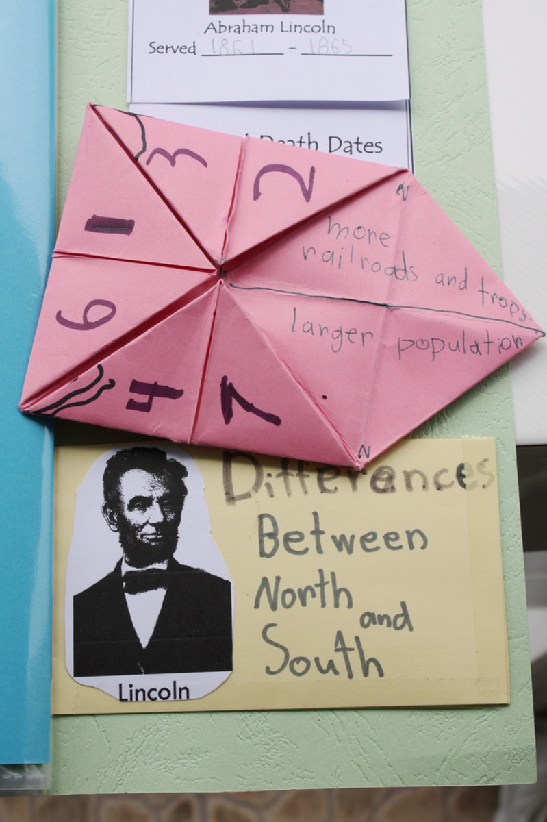 North versus South Civil War Cootie Catcher