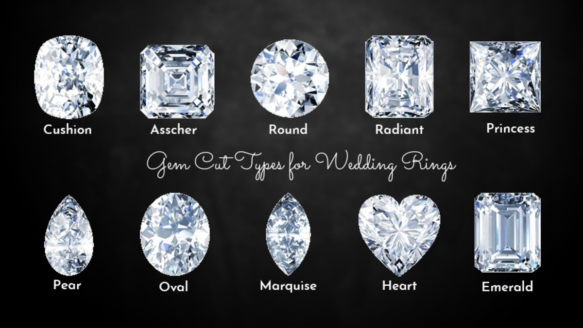 Jewelers cut gems in a variety of ways. I recommend when picking out a ring to look at different gem shapes and see how they look on your finger. The most favored gems are the Round Brilliance and the Princess cuts.