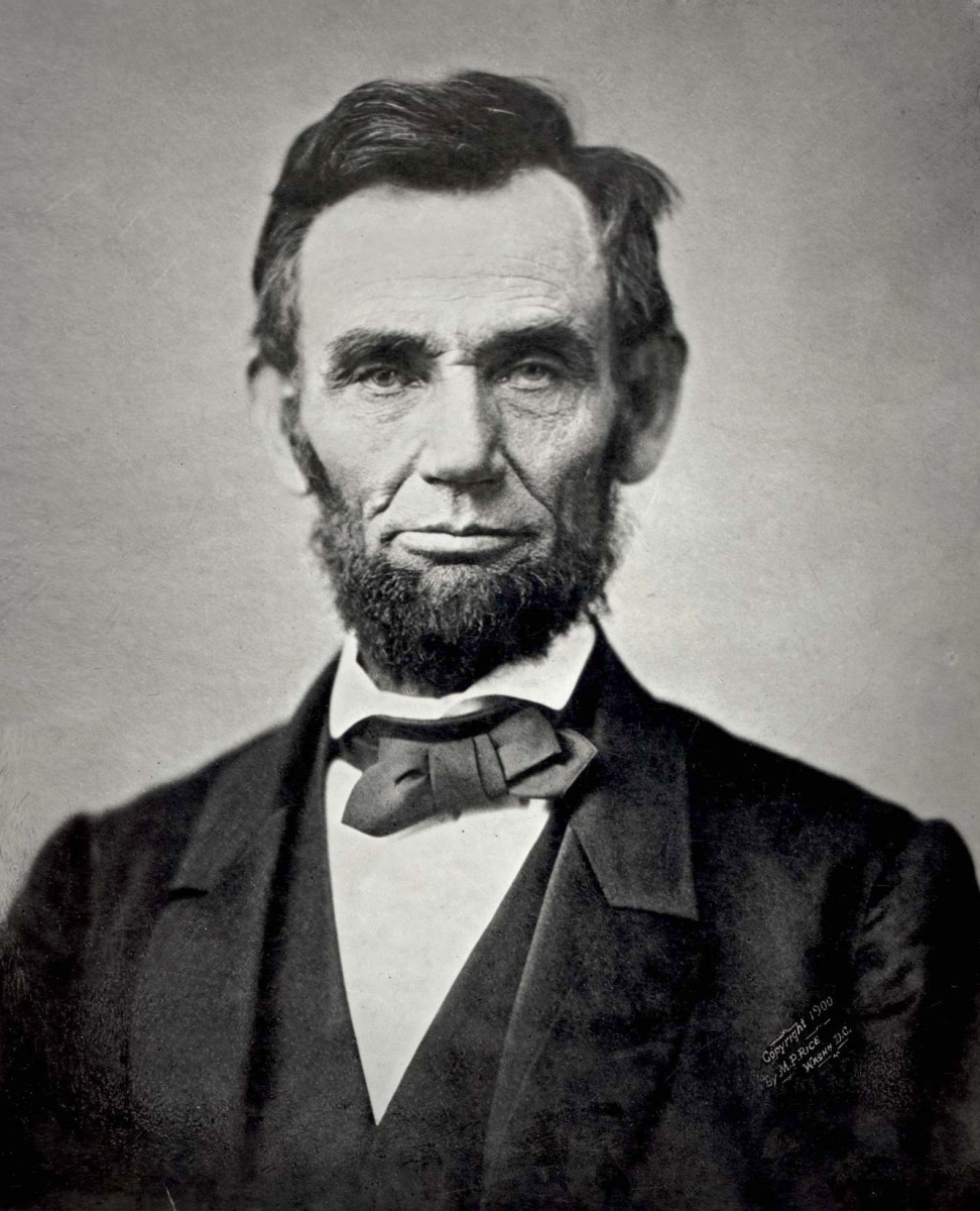 An iconic photograph of Abraham Lincoln (1809 - 1865)