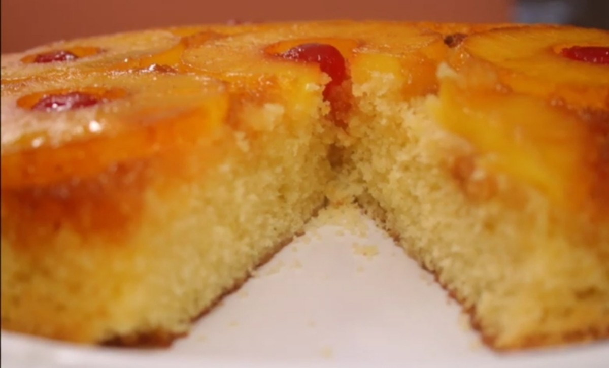 Very moist cake with a pretty topping