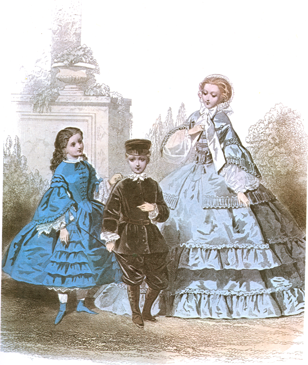 Fashion plate featuring children circa 1858