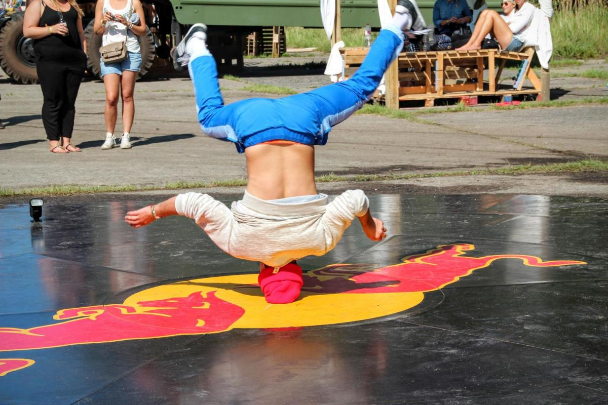 Break dancer doing the popular head spin.
