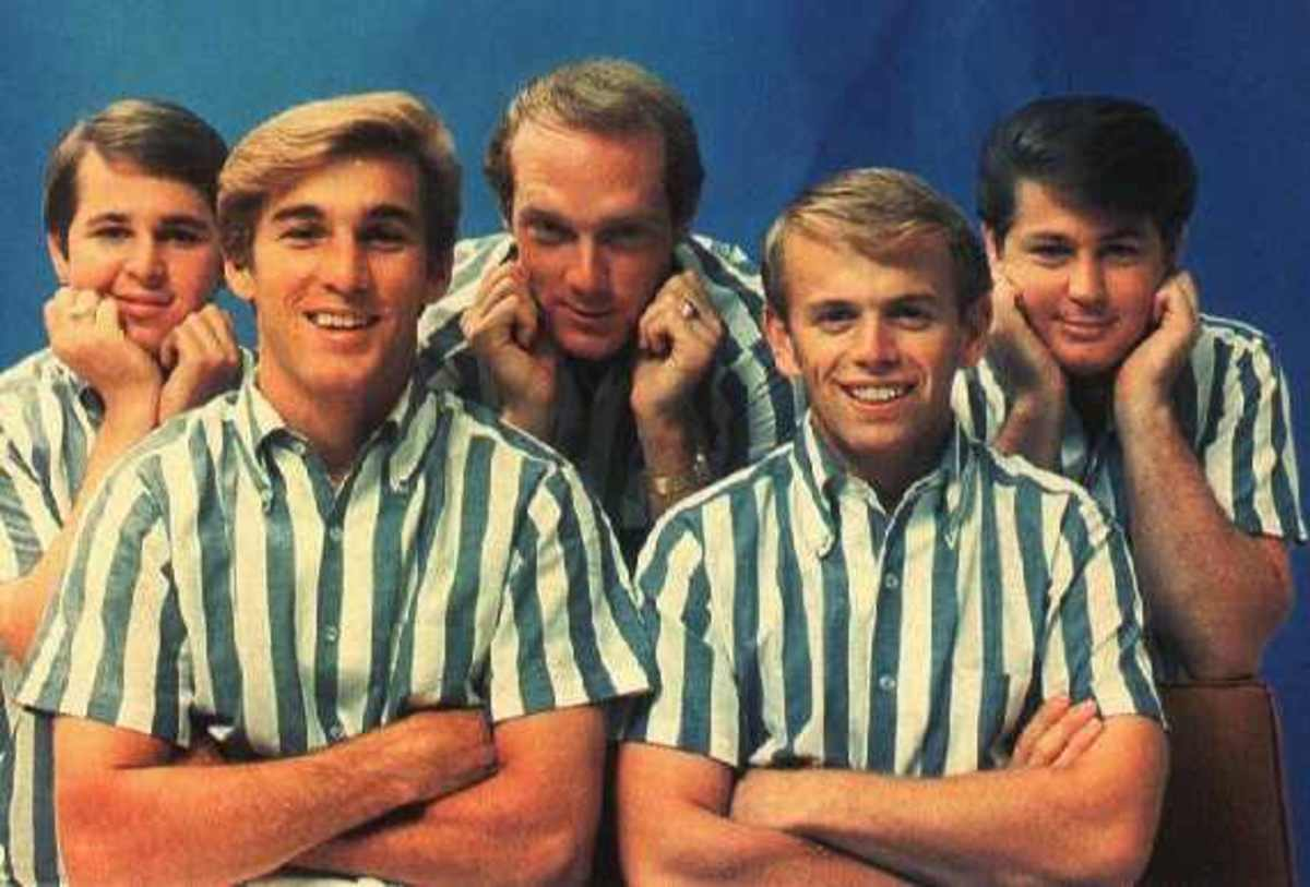 The Beach Boys in the 1960s:  (l to r) Carl Wilson, Dennis Wilson, Mike Love, Al Jardine, and Brian Wilson.