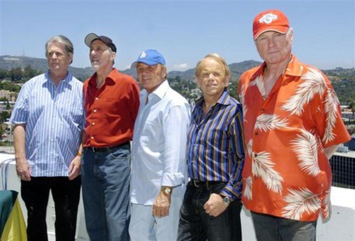 The Beach Boys in 2012 (l to r):  Brian Wilson, David Marks, Bruce Johnston, Al Jardine, and Brian Love