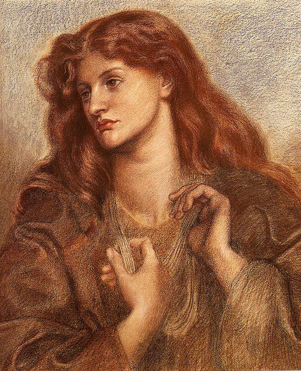 Colored chalk portrait of Alexa Wilding by Pre-raphaelite artist, Dante Gabriel Rossetti.  circa 1874