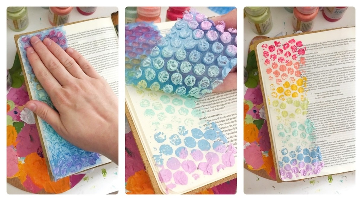 Bubble wrap is a fun easy way to add more dimension to any journal