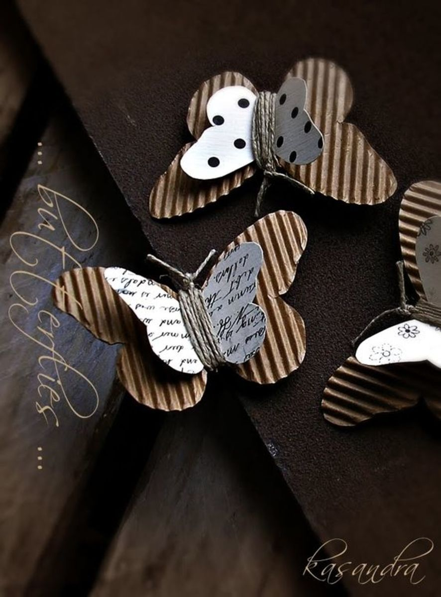 You can create delightful embellishments using corrugated cardboard. Consider creating whole pages with it too.