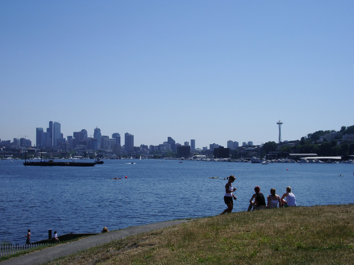 On the shores of Lake Union, at Gas Works Park.