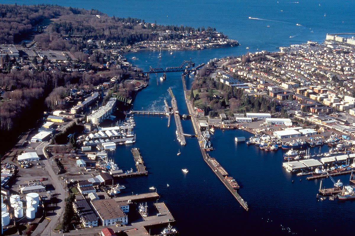 Lake Washington ship canal. Hiram M. Chittenden Locks