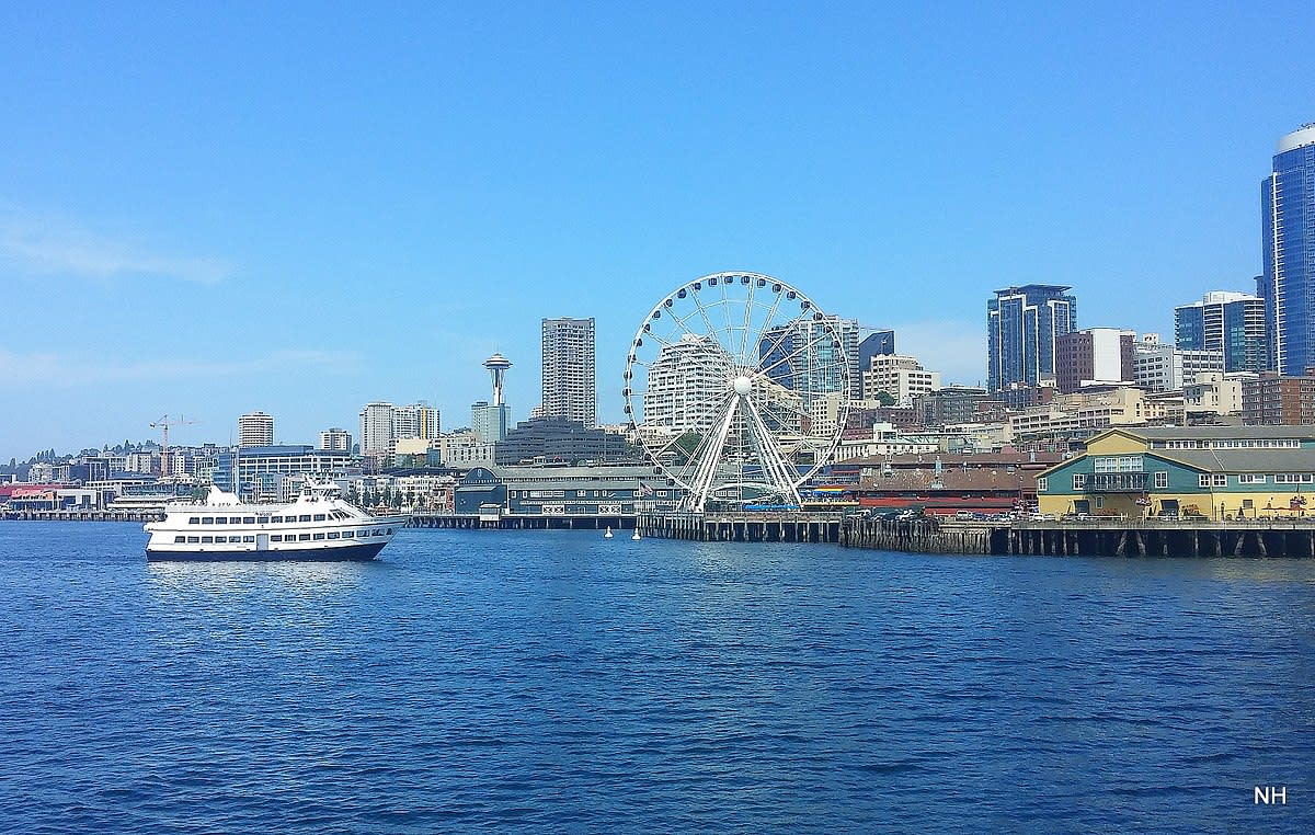 Seattle waterfront from ferry