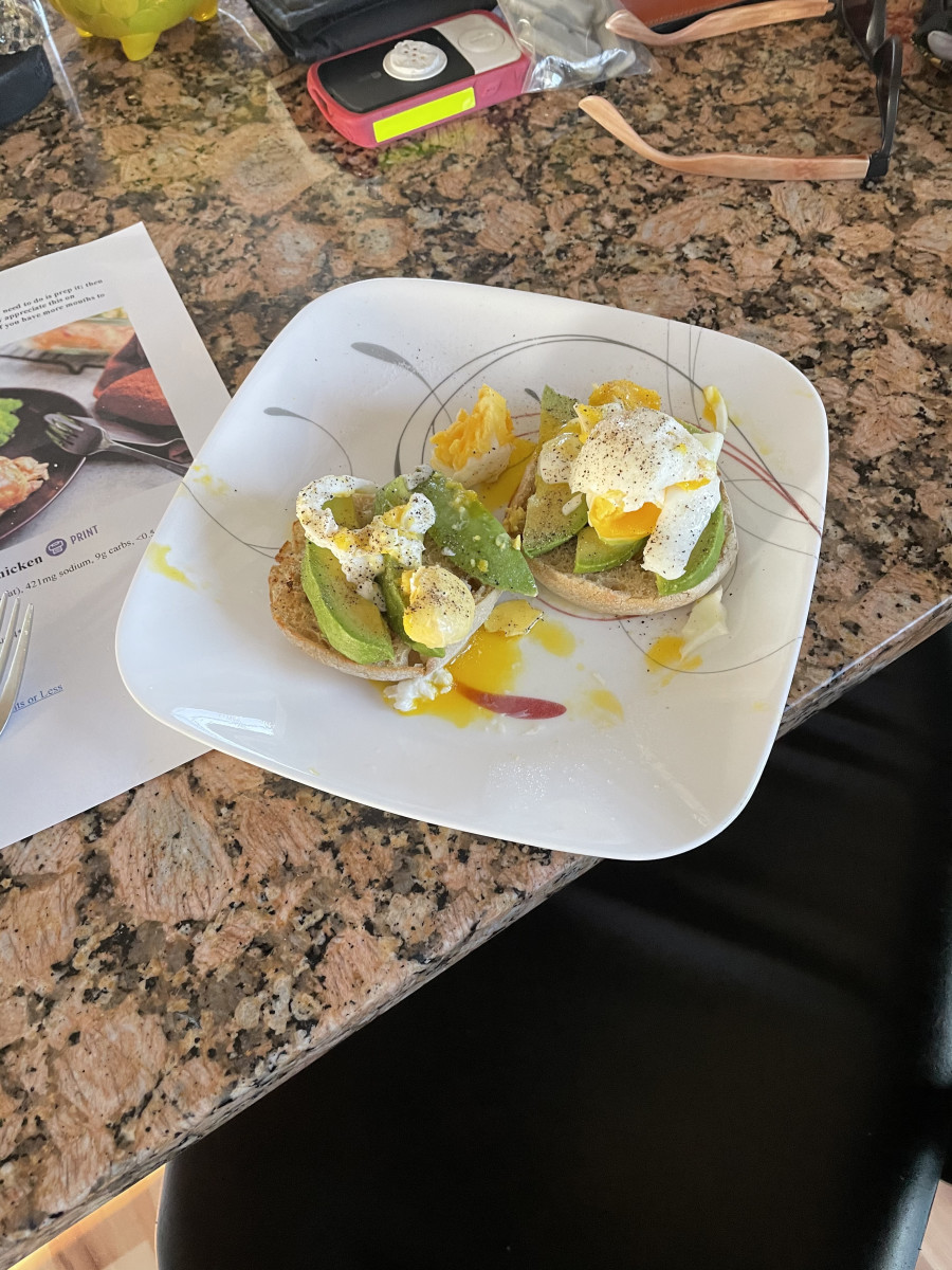 Avocado and Boiled Egg on Toasted Sourdough Muffin