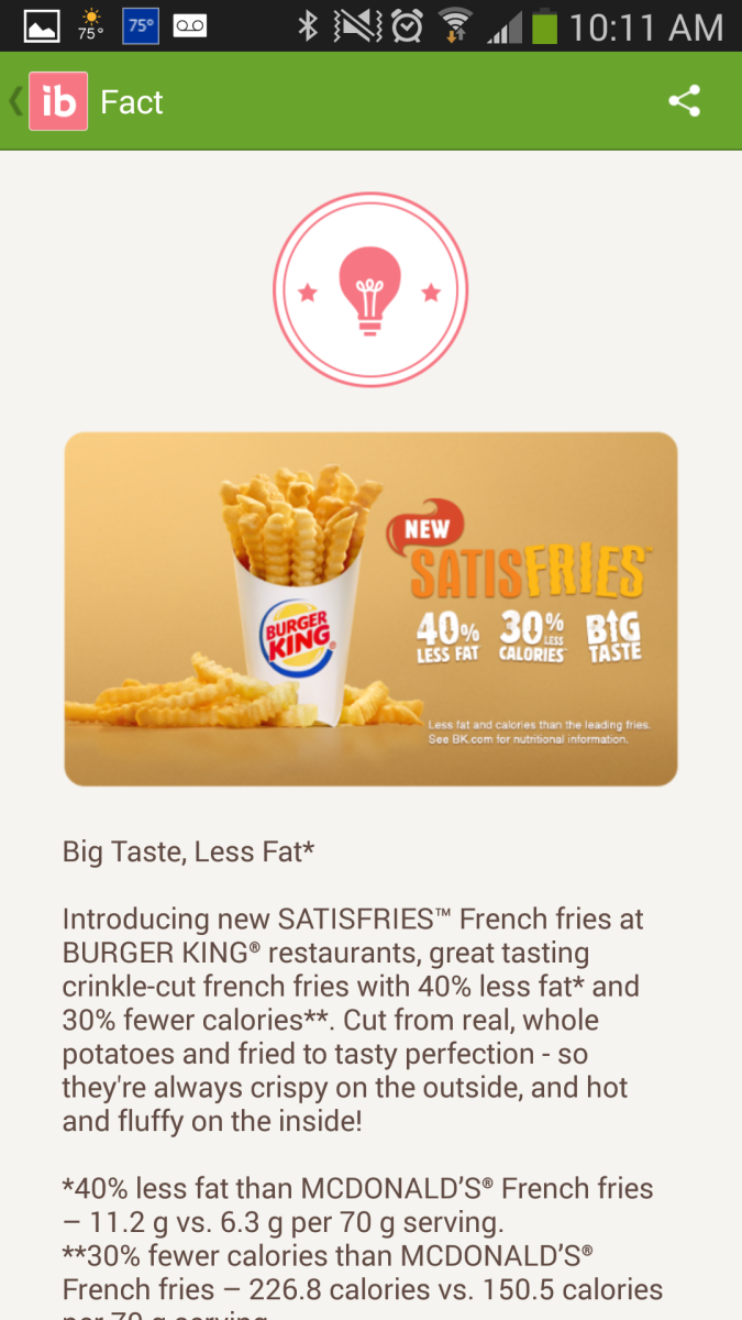 Here I'm reading a fact about Burger King.