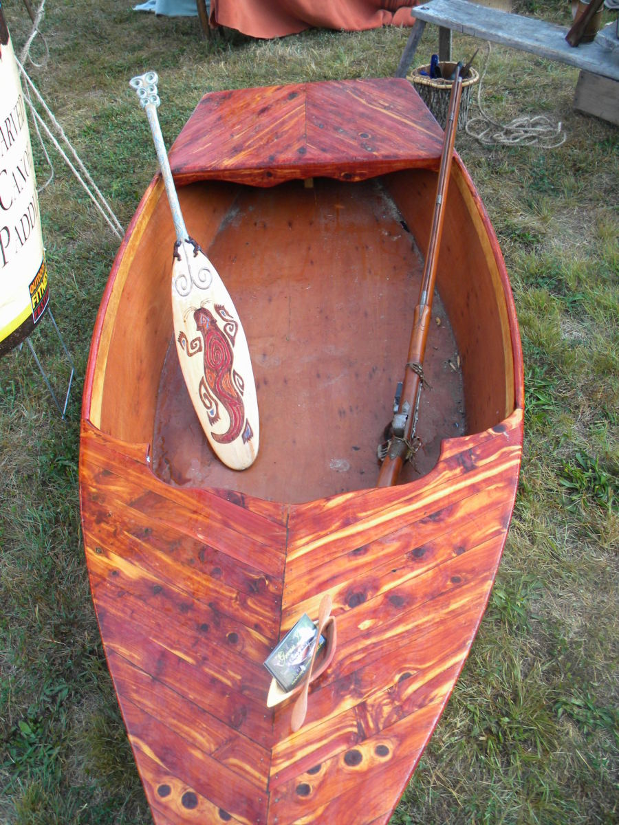 Cedar canoe/paddle - One of Wolf's earlier light-weight creations