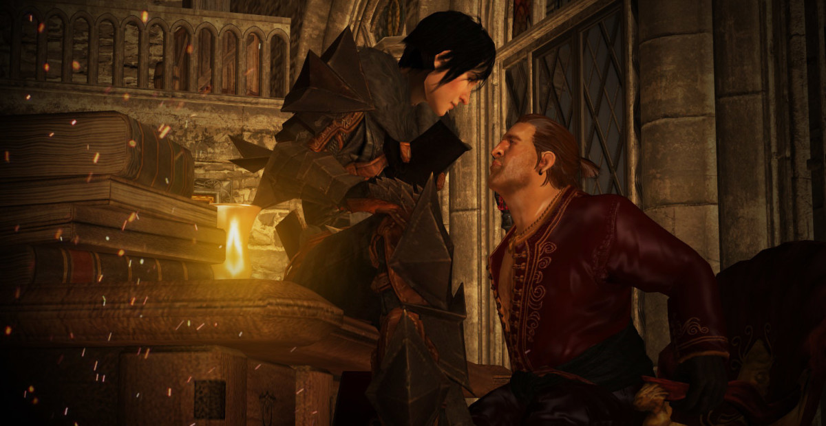 A fan render of mage Hawke and Varric.