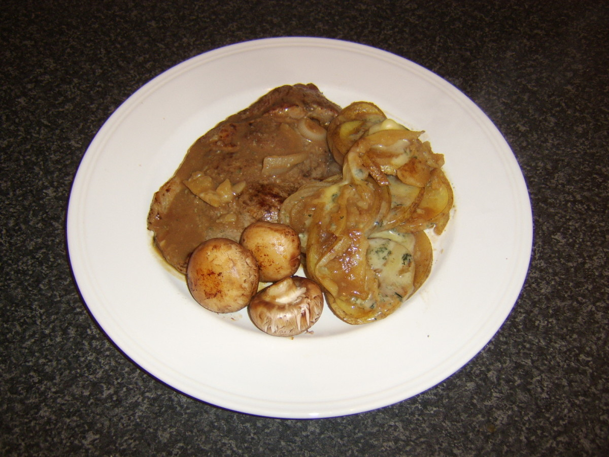 Sirloin steak with Stilton scalloped potatoes and fried chestnut mushrooms
