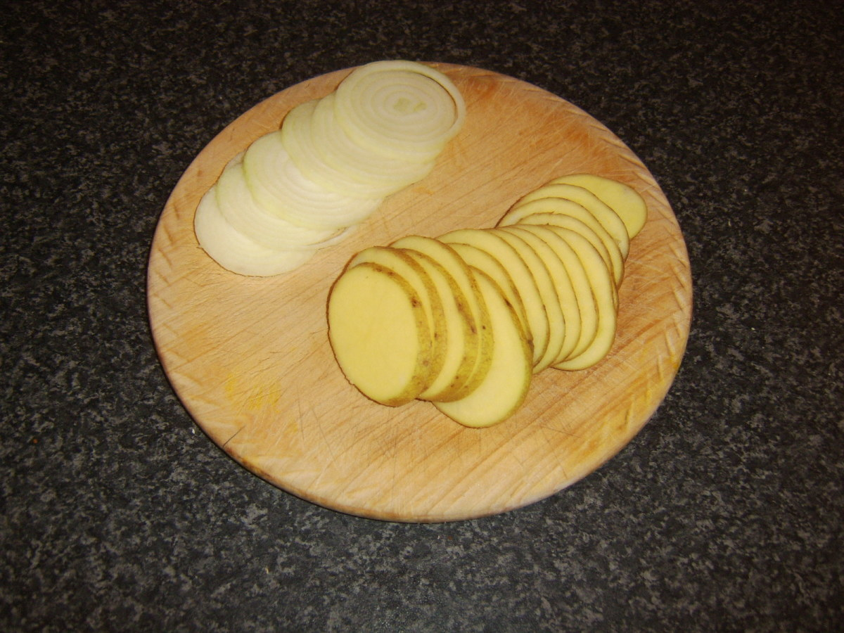 Potato and onion thinly sliced