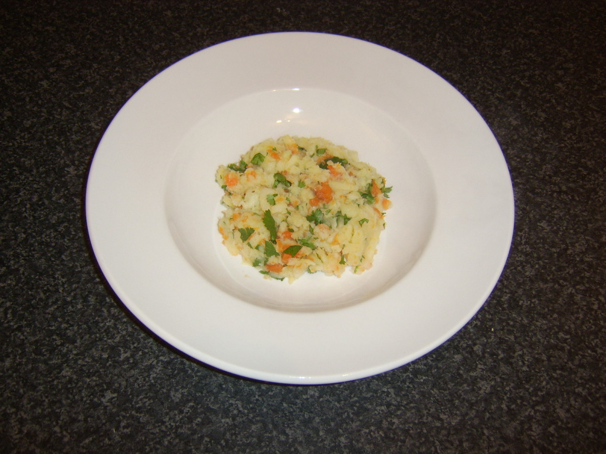 Carrot and parsnip mash is plated