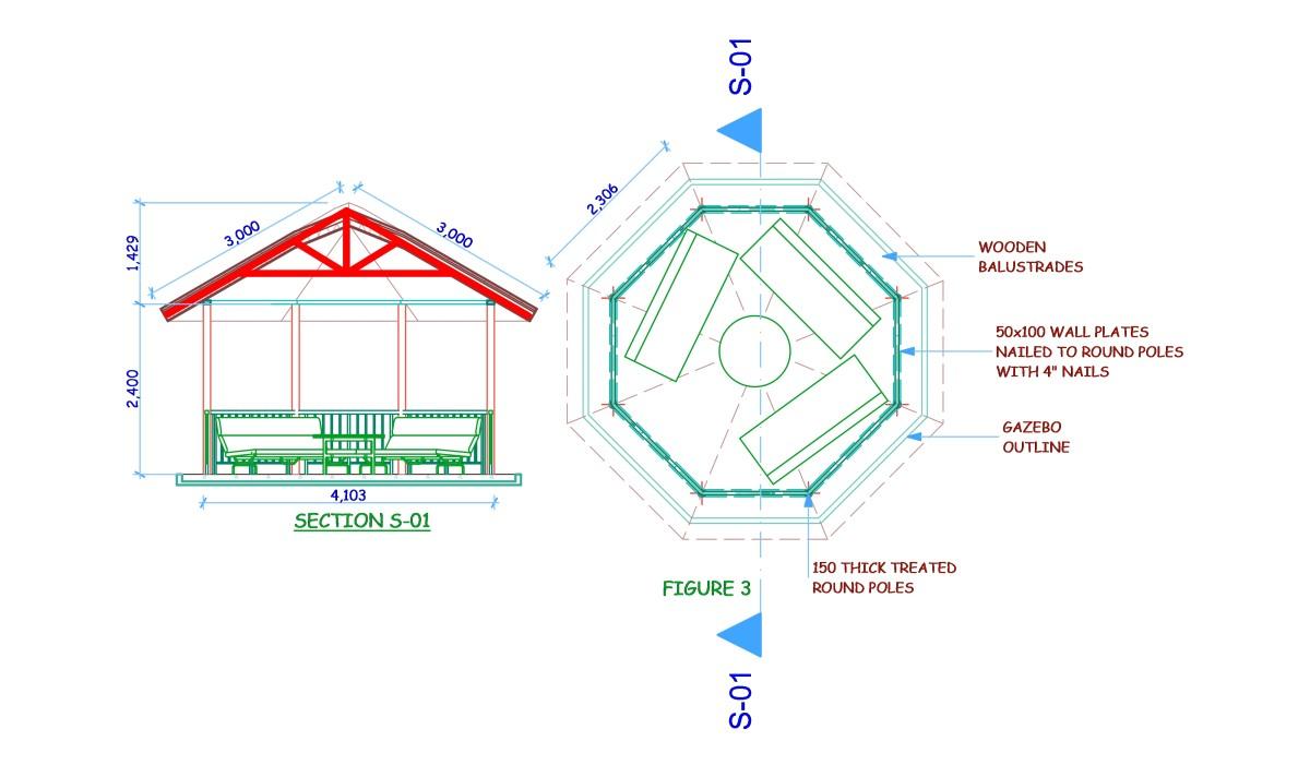 Gazebo Plan and Section.