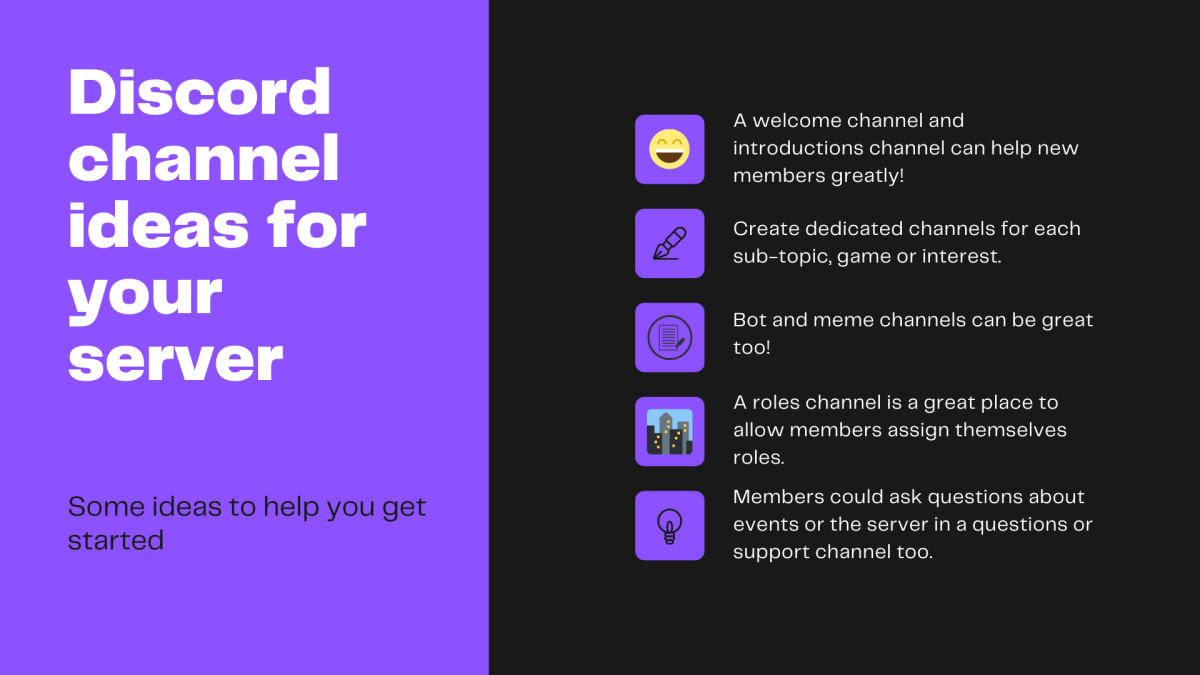 Here are some Discord channel ideas to help you out!