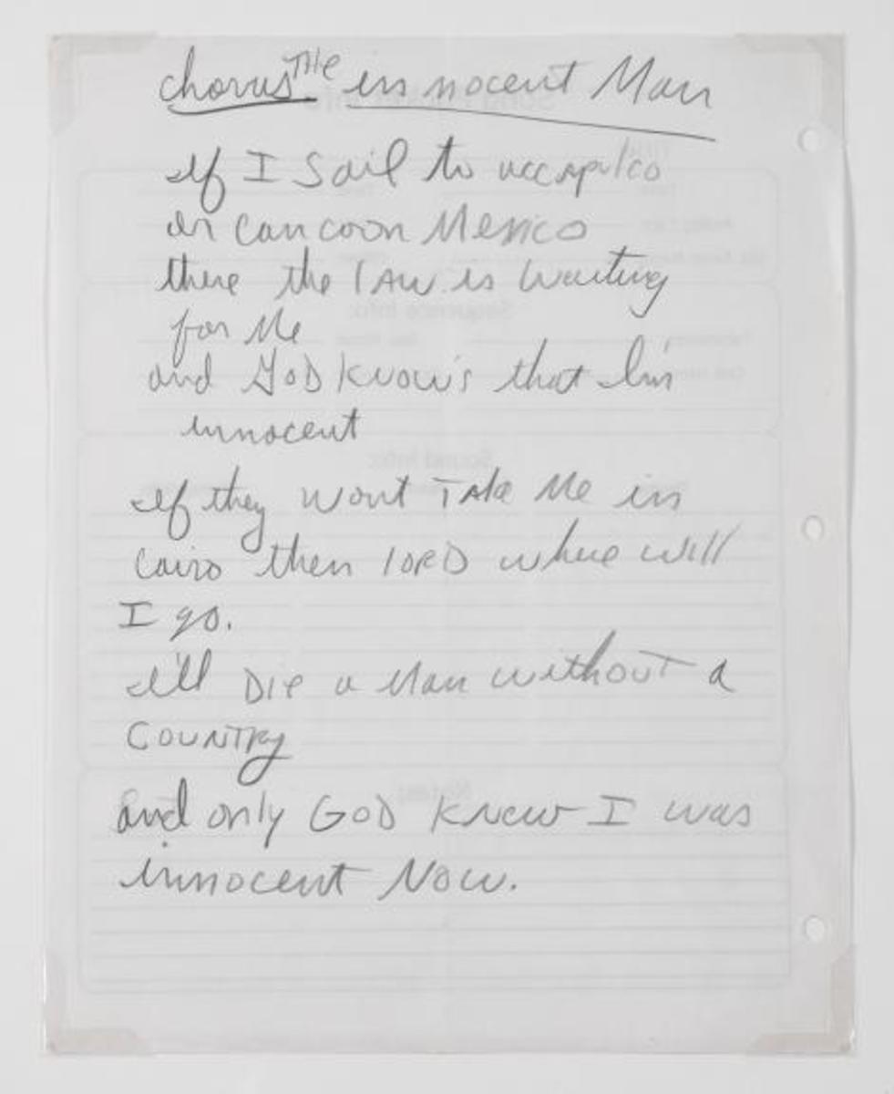 "Handwritten lyrics to ""Innocent Man"" (unreleased) by Michael Jackson."