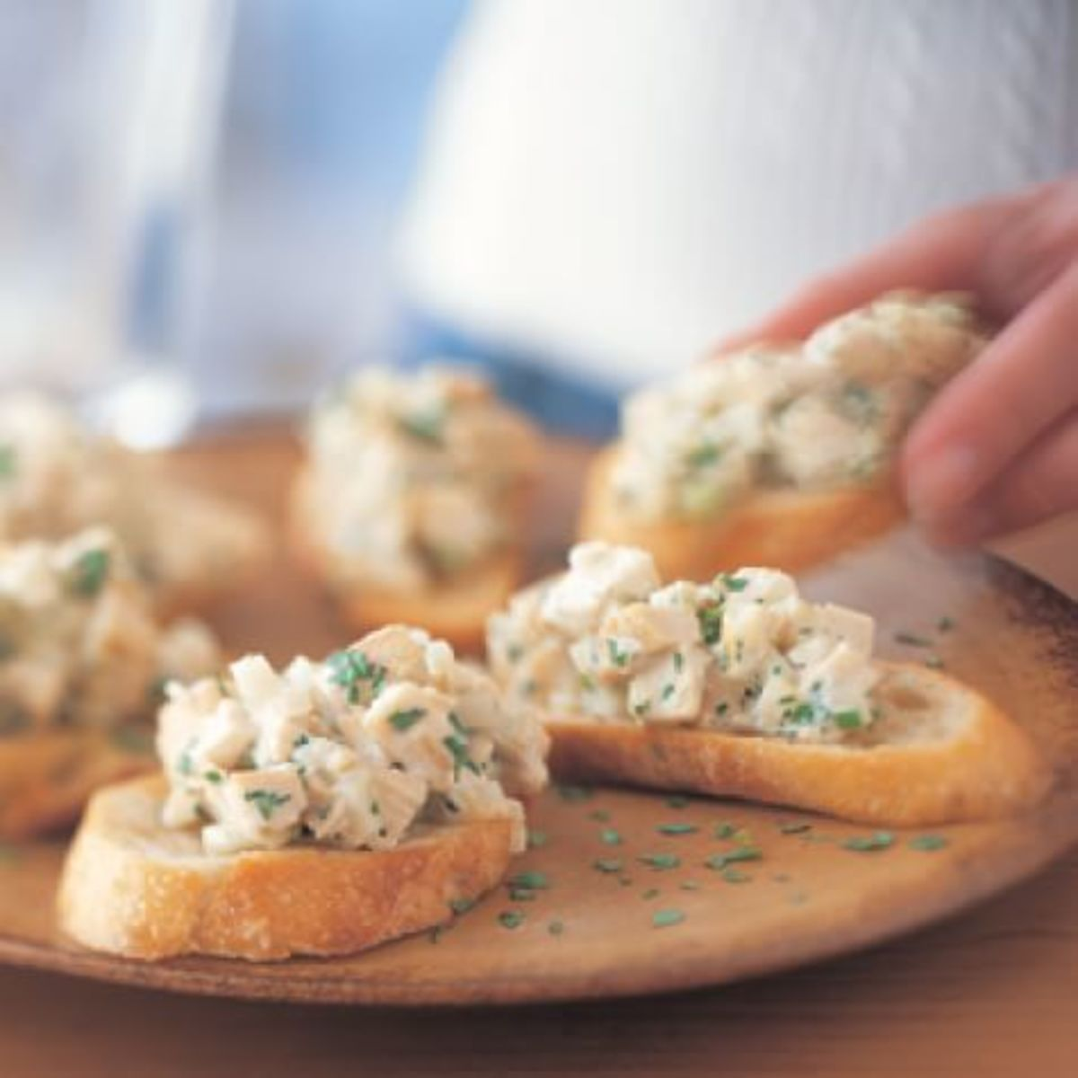 Crostini Topped with Chicken Salad