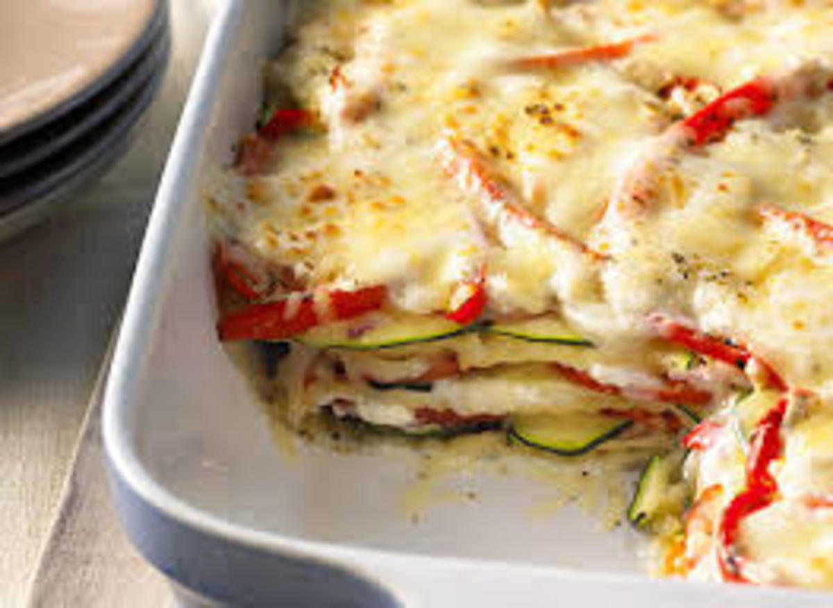 There are lots of dishes that we use lost of cheese to make them, this shown here look like lasagne, to make lasagne you need several ingredients, but you need also a lot of cheese like mozzarella cheese and other cheeses as well, and it is yummy.