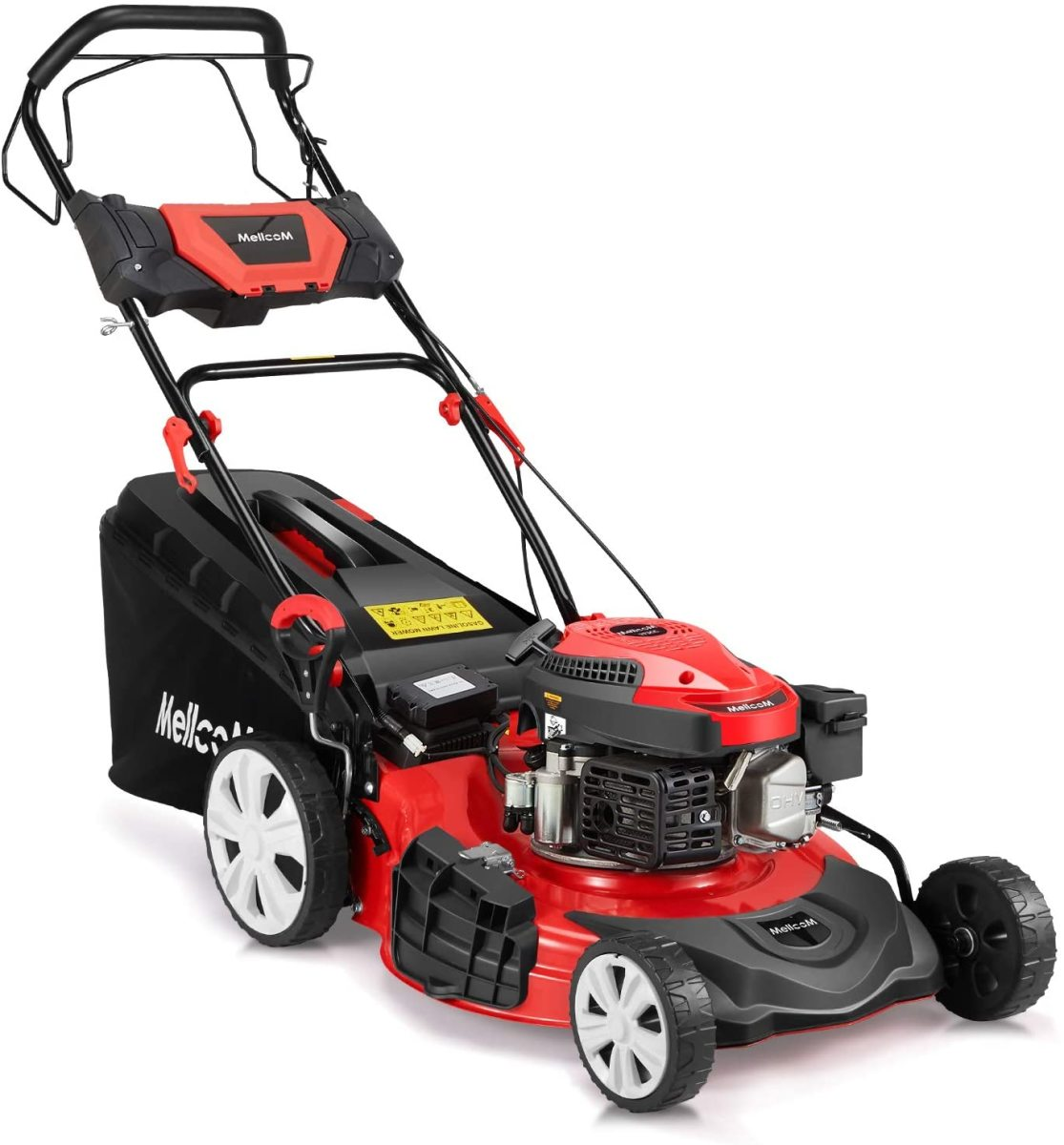 The MELLCOM Gas Lawn Mower Electric Start 4-Cycle 173cc OHV 21-Inch Trimming Mower.