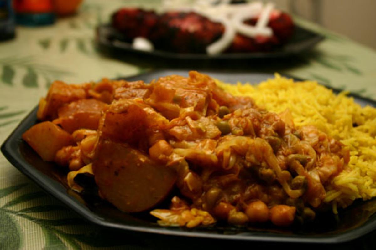 vegetarian Tikka Masala with potato, cabbage, and peas