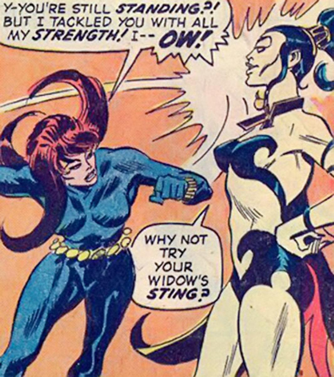 Nekra, shrugging off the Black Widow's punch