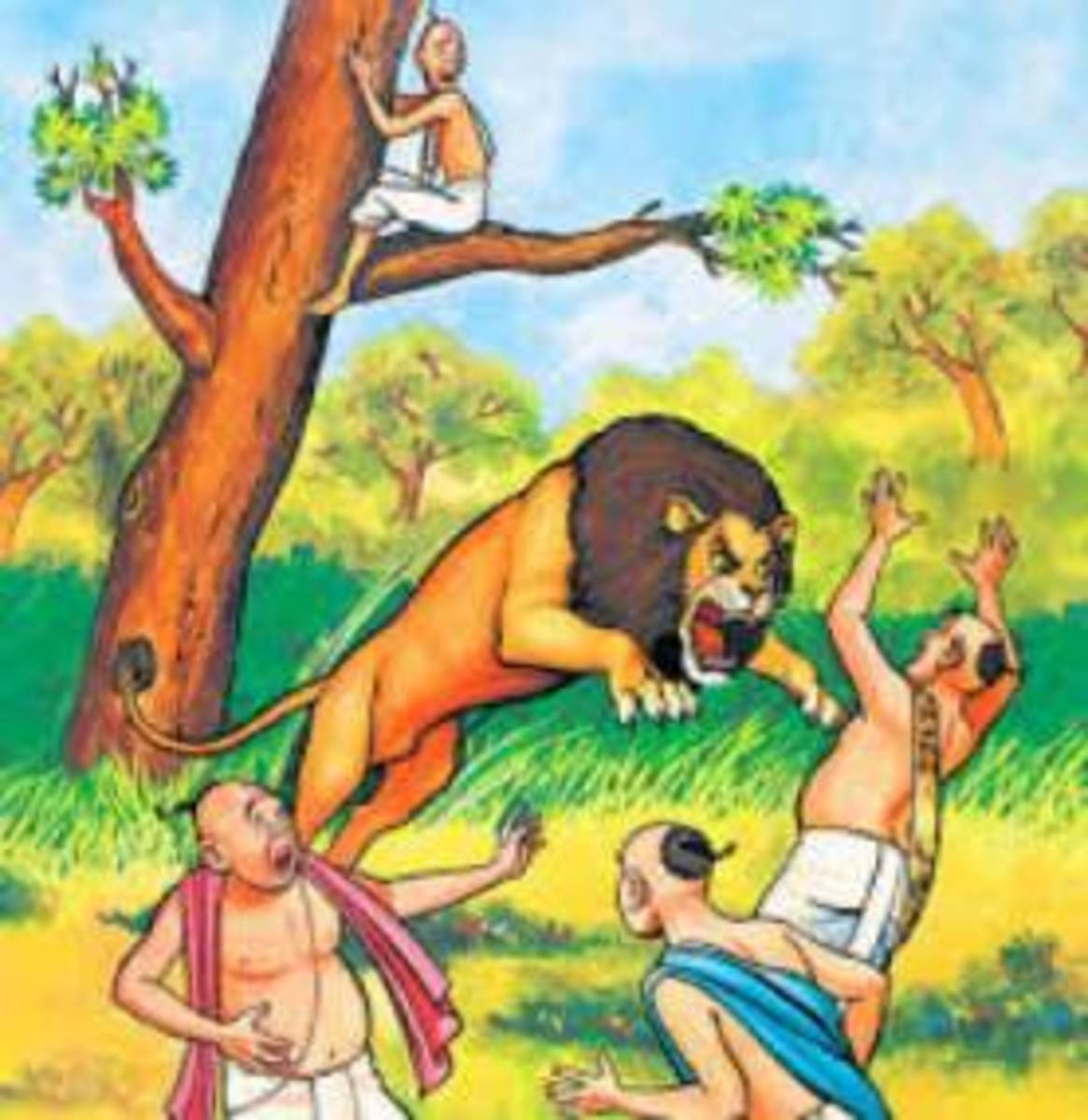Lion attacking the scholars, Bholu watching them from a tree branch