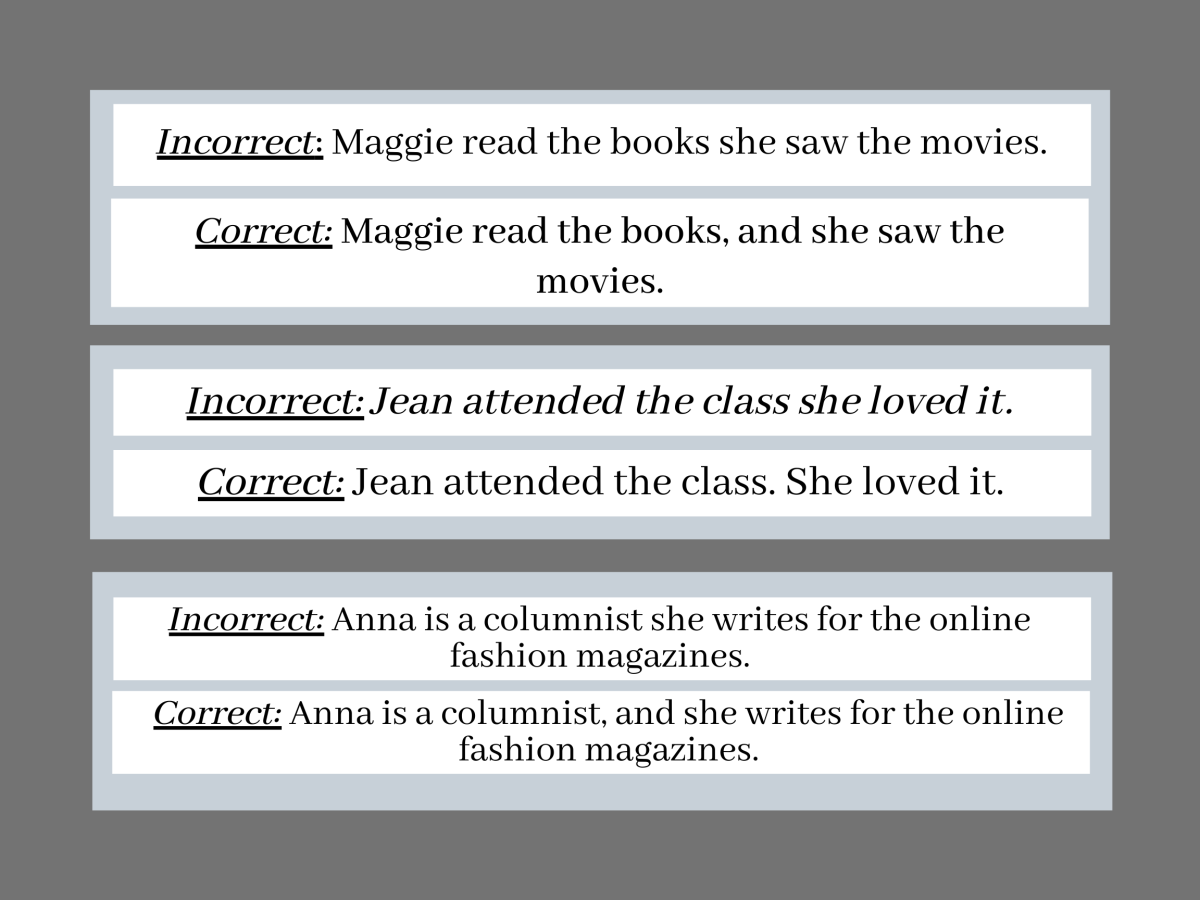 Pic 6: Examples for  Run-On Sentence.