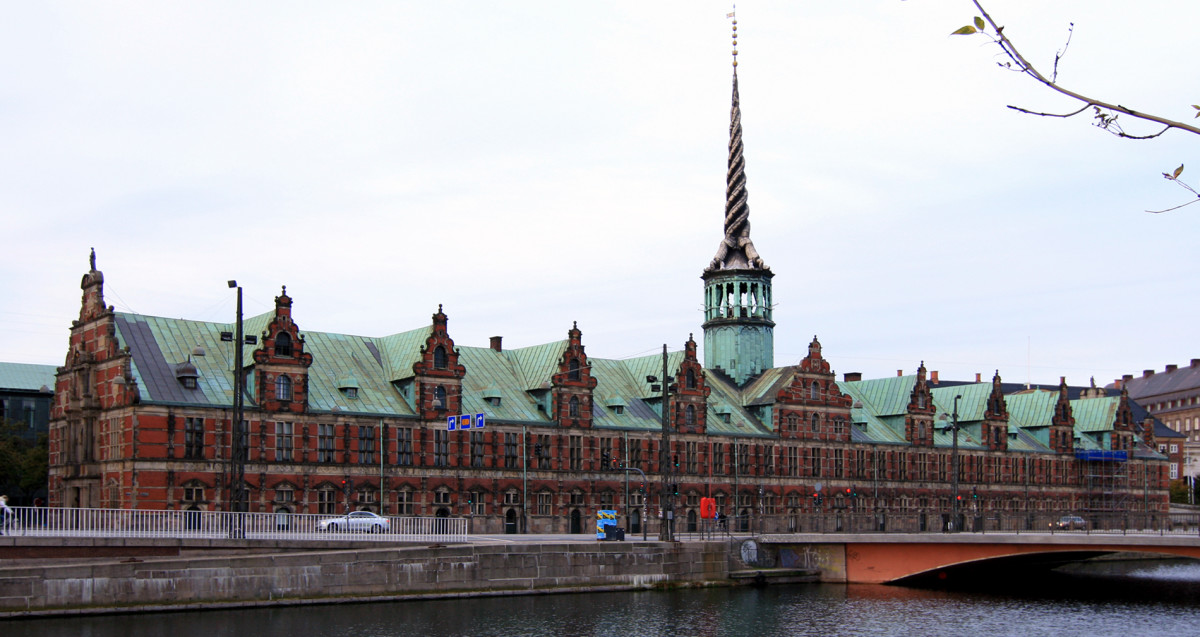 The former stock exchange building on an island in Copenhagen.  Now a major tourist attraction.