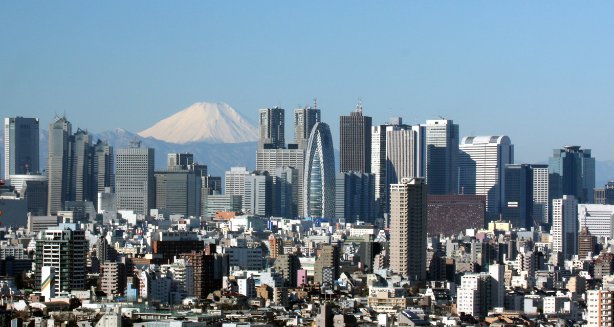 Some of the skyscrapers of Tokyo with Japan's tallest mountain, Mount Fuji in the background.  This photo was taken by Morio and permission granted under GNU Free Documentation License Version 1.2.