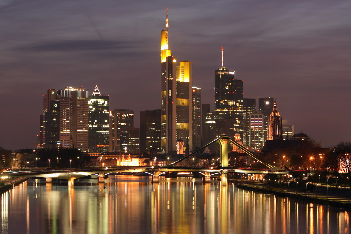 Frankfurt skyline at night.  Author Nicolas 17 and published under Creative Commons Attribution ShareAlike 2.5 licence.