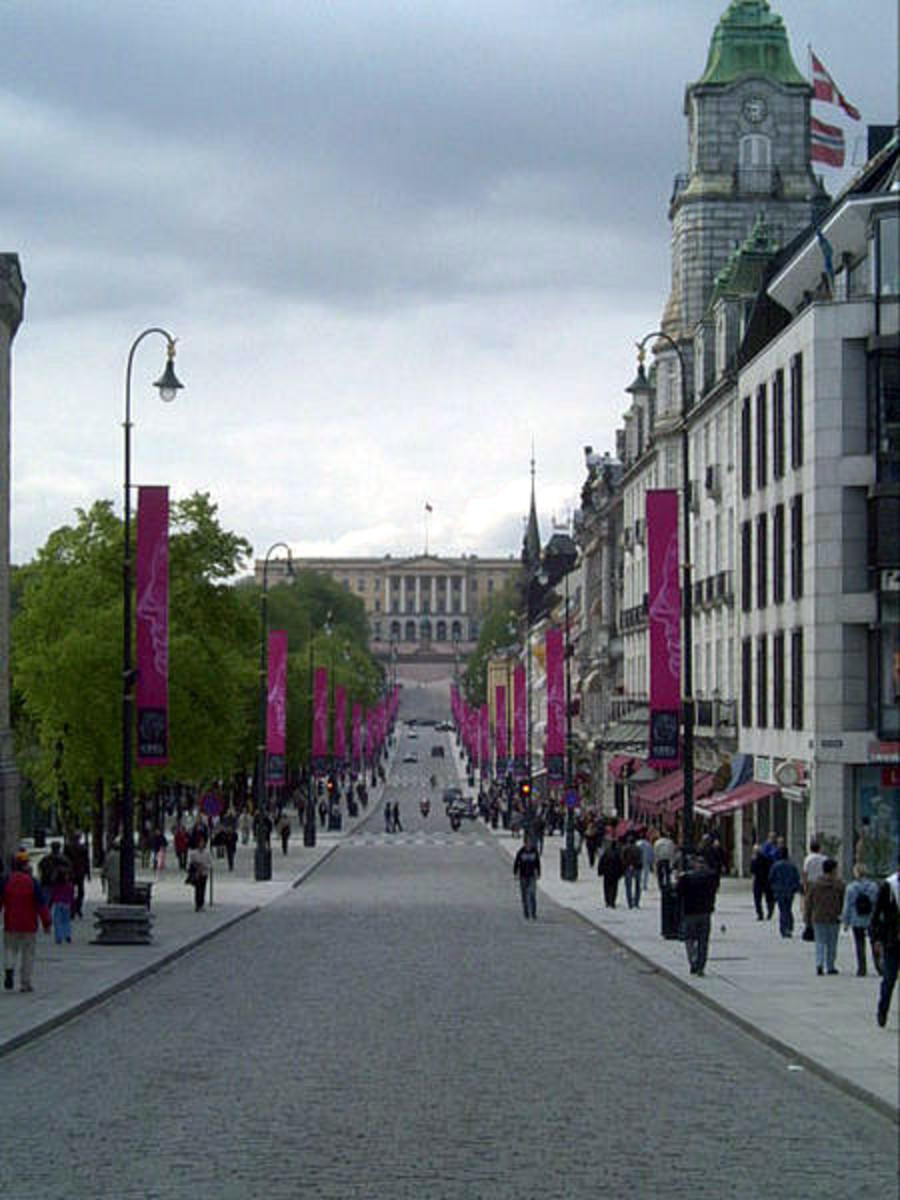 This street is the Karl Johan gate with the Royal Palace in the distance.  Photo by Mahlum and distributed under GNU Free Documentation License Version 1.2.