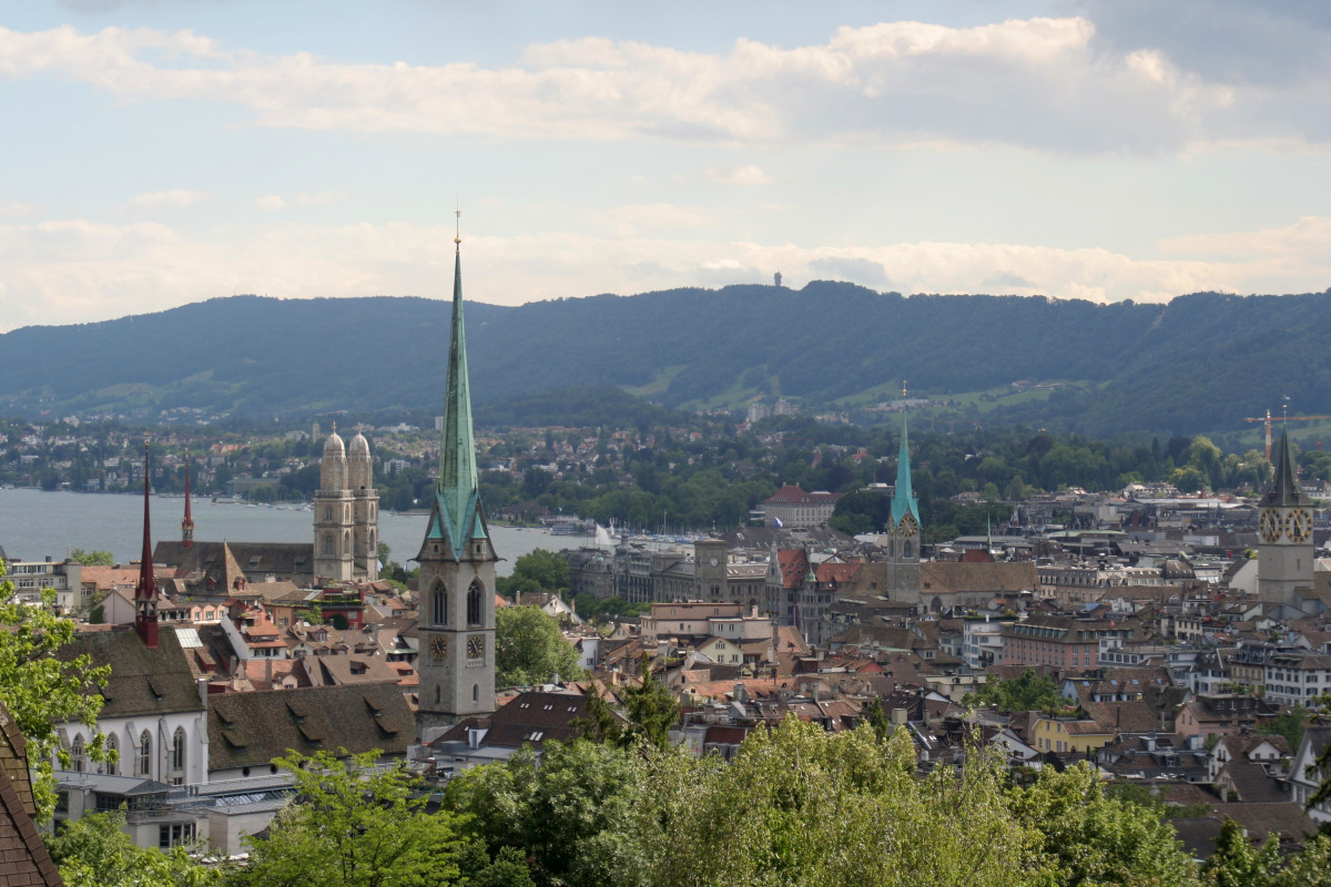 The central part of Zurich along with the four main churches.  Photo by Ikiwaner distributed under a GNU Free Documentation Licence.