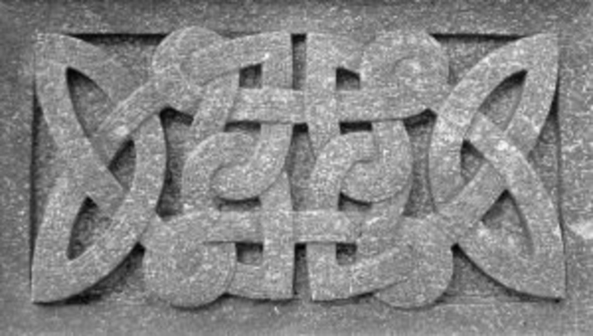 Celtic stone knotwork carving - many of the high crosses were carved with these patterns in 'frames' along their shafts