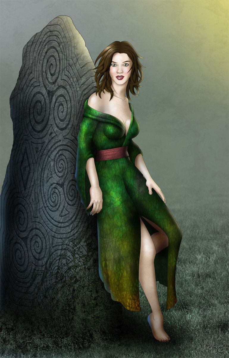 Artist's impression of Eriu, after whom Eire (Ireland) was named - no shrinking violet, this maid, with her revealing green dress and auburn tresses. Twist any invading  visitor round her little finger, she would. Wasn't around when the Normans lande