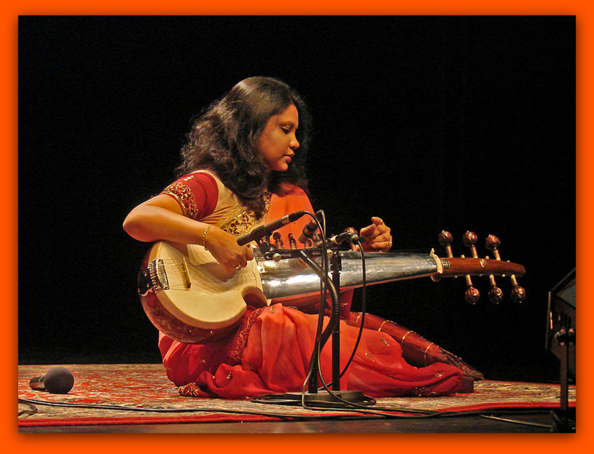 Lady playing a sarod