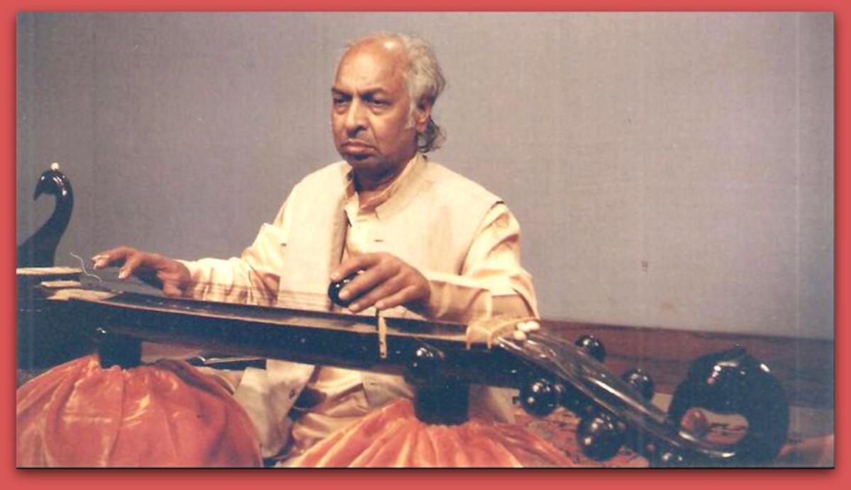 Man playing the Vichitra Veena