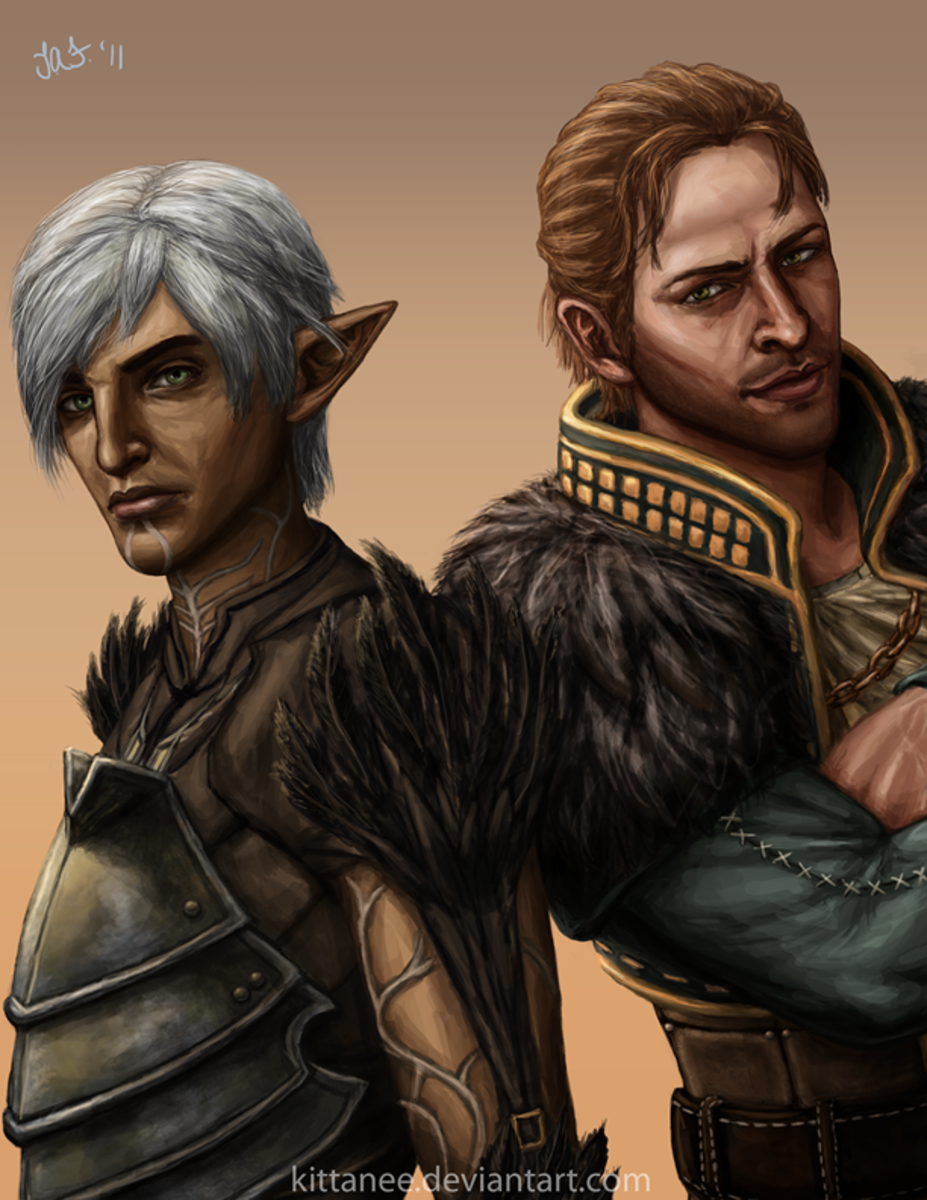 Fan art of Anders and Fenris.