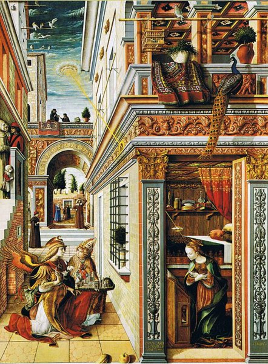 "painting by Carlo Crivelli (1430-1495) called ""Annunciation""."
