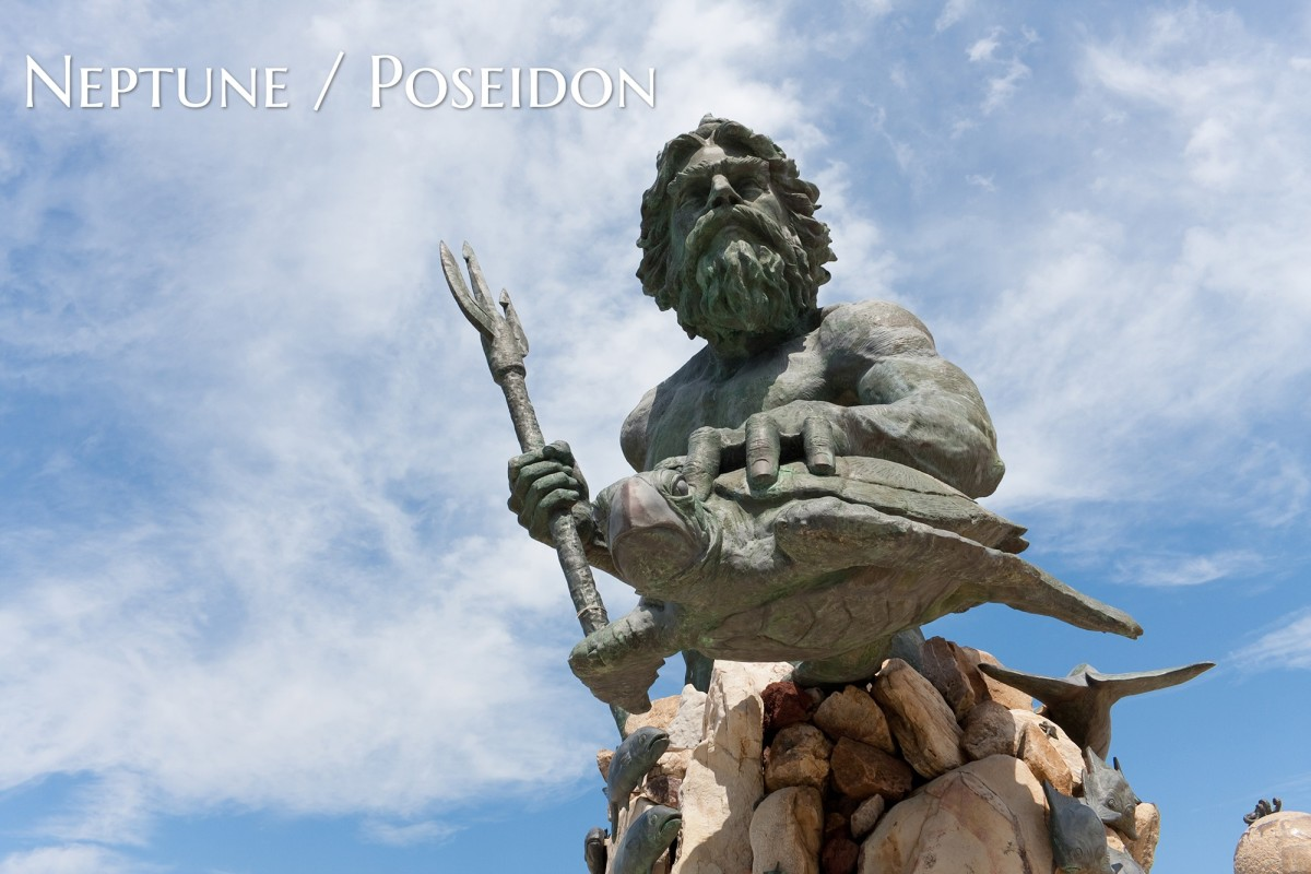 Neptune was the god of the sea in Roman mythology. Poseidon was the god of the sea in Greek mythology. The god was also known for spring waters, earthquakes, and horses. He carried a trident with him.