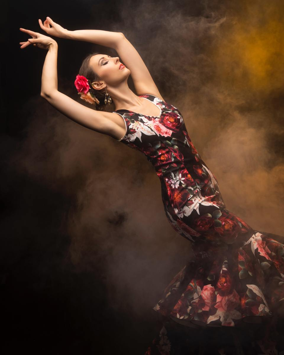 A flamenco dancer in performance.