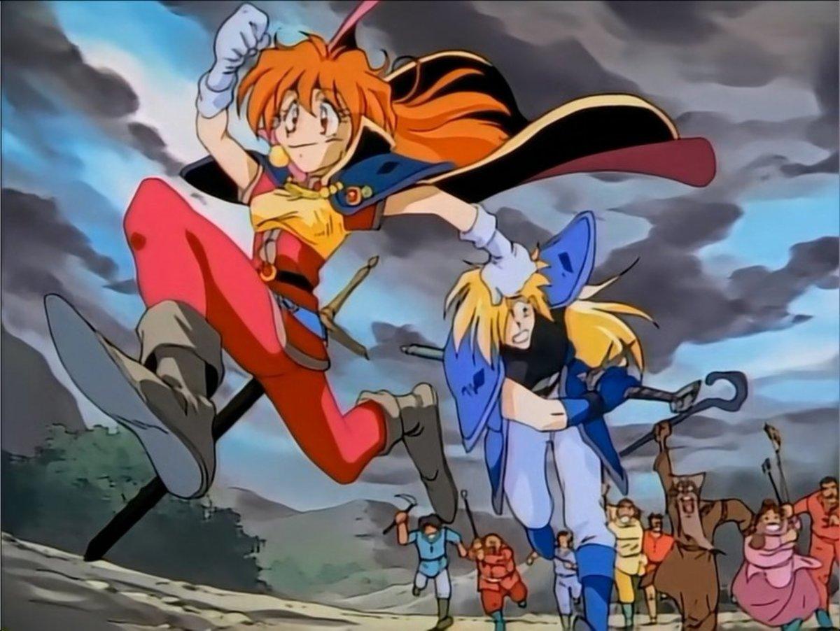 Lina and Gourry running away.