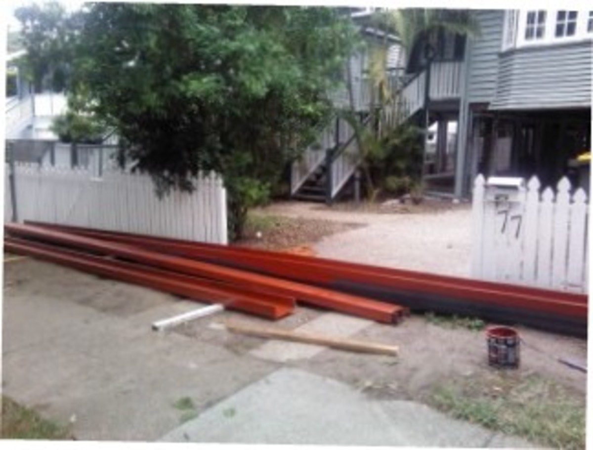 The steel beams have been delivered on the footpath in front of the property, they have been painted and ready to be installed under the house.
