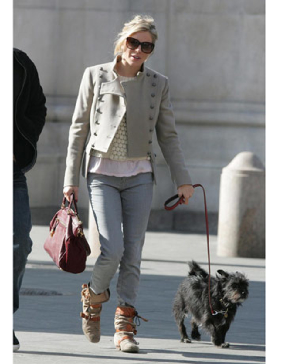 Longer pieces go towards the bottom. Love Sienna Miller's gray military jacket!