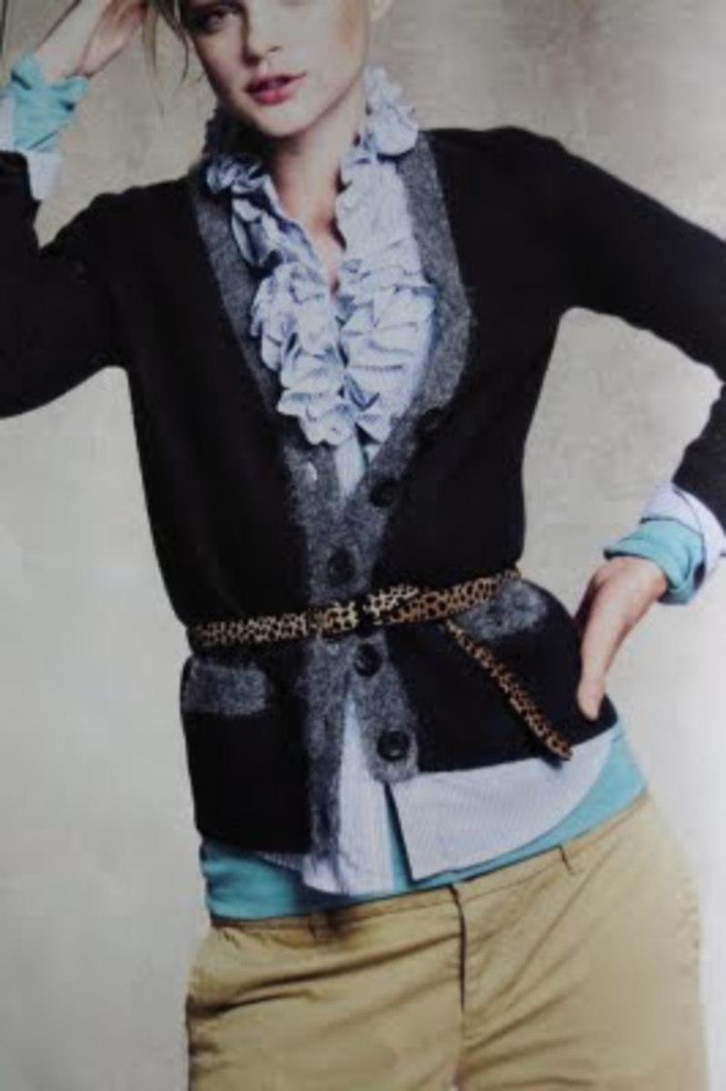 Contrasting styles, plain cardigan over a blouse with ruffles, J.Crew Catalog